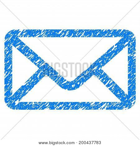 Grunge Envelope icon with grunge design and dirty texture. Unclean vector blue pictogram for rubber seal stamp imitations and watermarks. Draft emblem symbol.