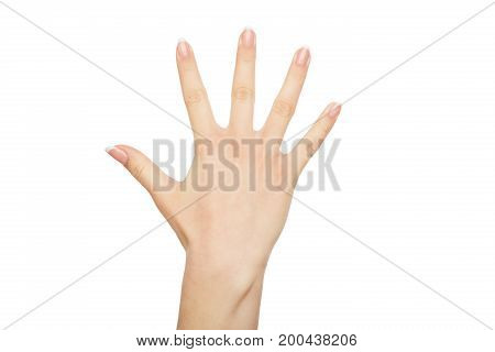 Female showing her hand, close-up, cutout, copy space, isolated on white background.