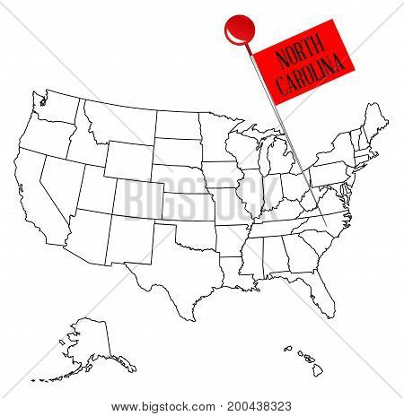 An outline map of USA with a knob pin in the state of North Carolina