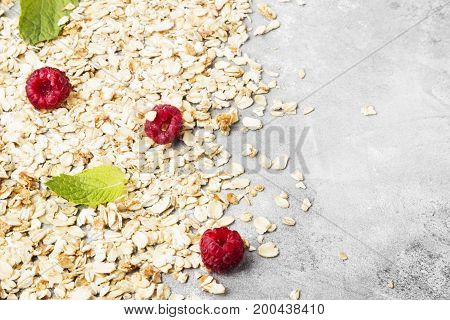 Glanola With Raspberry And Mint. Copy Space. Food Background