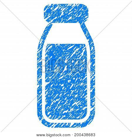 Grunge Full Bottle icon with grunge design and dust texture. Unclean vector blue pictogram for rubber seal stamp imitations and watermarks. Draft sticker symbol.