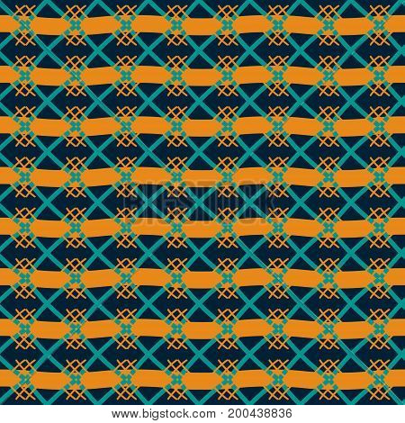 Seamless geometric pattern in retro color palette. Abstract print of thick wavy lines and lattice of intersecting lines