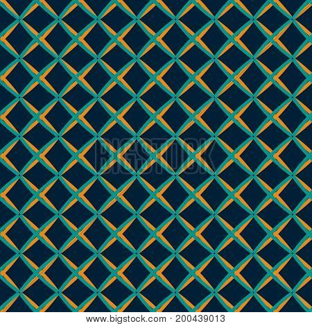 Seamless abstract geometric pattern in retro color palette. Lattice of intersecting thick lines in hand drawn style
