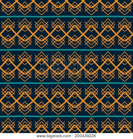Seamless geometric pattern of wide strips in hand drawn style. Abstract graphic print with ethnic motifs in retro blue and orange colors