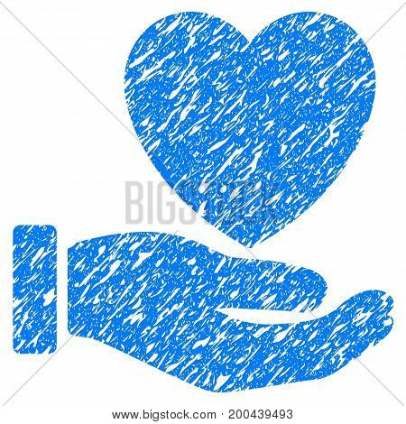 Grunge Heart Charity icon with grunge design and unclean texture. Unclean vector blue pictogram for rubber seal stamp imitations and watermarks. Draft sticker symbol.