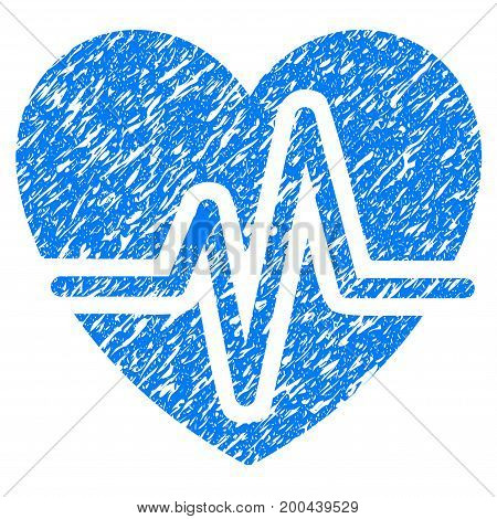 Grunge Heart Diagram icon with grunge design and dirty texture. Unclean vector blue pictogram for rubber seal stamp imitations and watermarks. Draft emblem symbol.