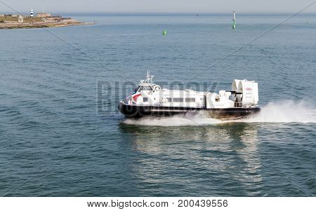 Portsmouth Solent UK - July 6 2017: Hovercraft Solent Flyer GH-2160 approaching Portsmouth with passengers from the Isle of Wight