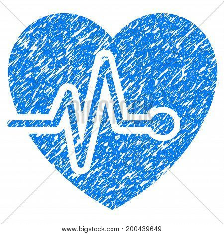 Grunge Heart Pulse icon with grunge design and dust texture. Unclean vector blue pictogram for rubber seal stamp imitations and watermarks. Draft sign symbol.
