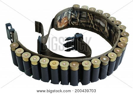 Hunter Rifle Ammo Ammunition Belt And Bandolier, Cartridges Inside. Isolated