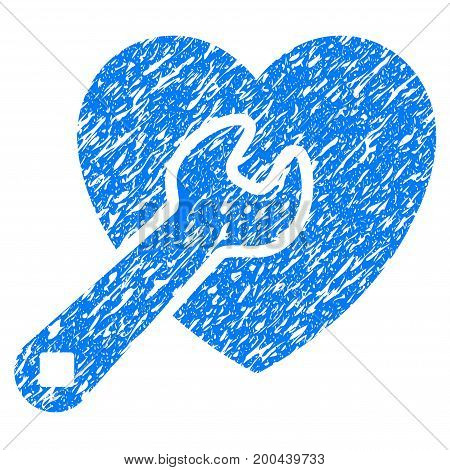 Grunge Heart Repair icon with grunge design and scratched texture. Unclean vector blue pictogram for rubber seal stamp imitations and watermarks. Draft sticker symbol.