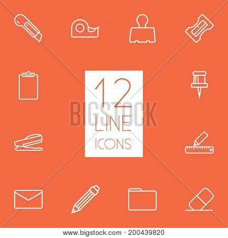 Collection Of Eraser, Clipboard, Pushpin And Other Elements.  Set Of 12 Instruments Outline Icons Set.