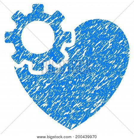 Grunge Heart Surgery icon with grunge design and unclean texture. Unclean vector blue pictogram for rubber seal stamp imitations and watermarks. Draft sticker symbol.