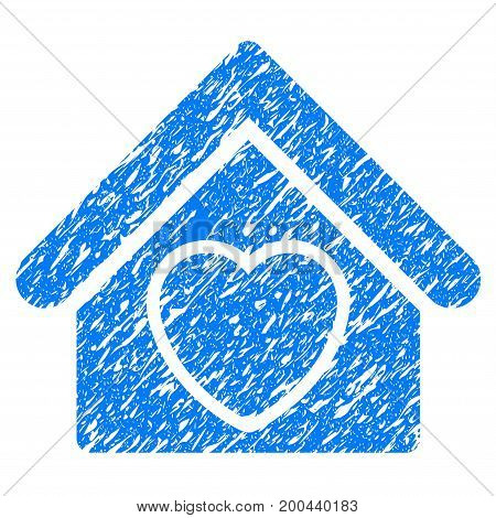 Grunge Hospice icon with grunge design and scratched texture. Unclean vector blue pictogram for rubber seal stamp imitations and watermarks. Draft sticker symbol.