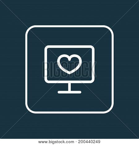 Premium Quality Isolated Monitor  Element In Trendy Style.  Diagnosis Outline Symbol.