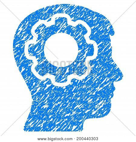 Grunge Human Mind icon with grunge design and dust texture. Unclean vector blue pictogram for rubber seal stamp imitations and watermarks. Draft emblem symbol.