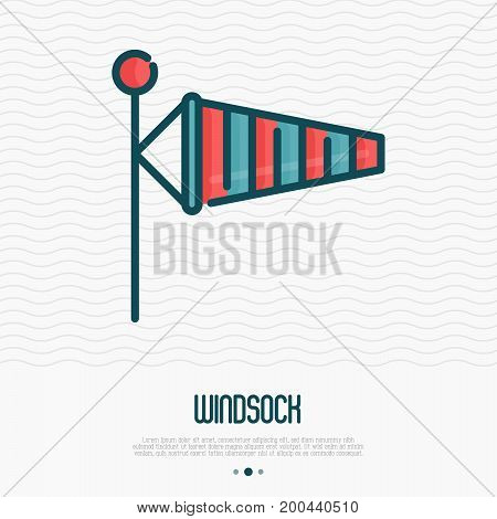 Windsock thin line icon. Vector illustration of air wind direction, aviation instrument.