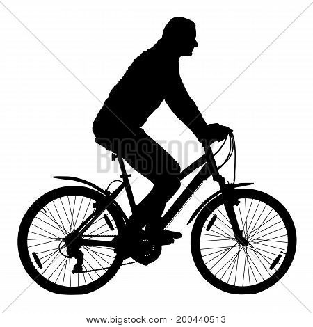 Girl on a mountain bike cyclist silhouette vector