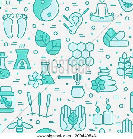 Alternative medicine seamless pattern with thin line icons. Vector illustration of banner, print media or web site for yoga, acupuncture, wellness, ayurveda, chinese medicine, holistic center.