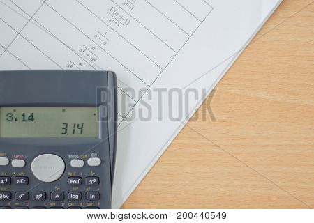 calculator and sheet of paper with maths-formulas