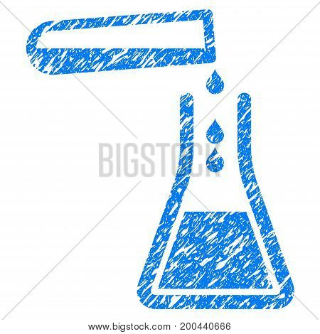 Grunge Liquid Transfusion icon with grunge design and scratched texture. Unclean vector blue pictogram for rubber seal stamp imitations and watermarks. Draft sign symbol.