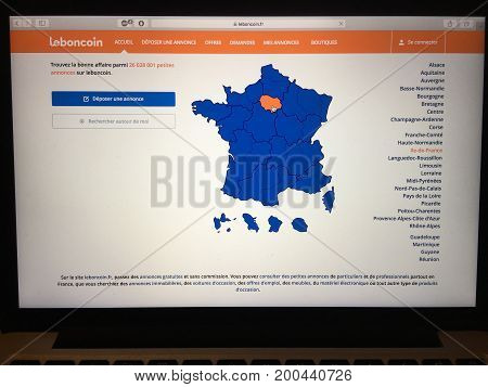 WUHAN, CHINA, AUGUST 20 2017: Leboncoin French classified advertising website homepage on laptop screen. Leboncoin.fr logo