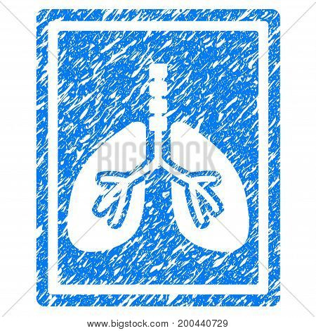 Grunge Lungs X-Ray Photo icon with grunge design and dirty texture. Unclean vector blue pictogram for rubber seal stamp imitations and watermarks. Draft sticker symbol.