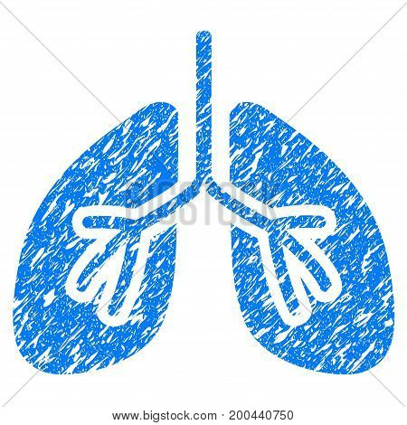 Grunge Lungs icon with grunge design and dirty texture. Unclean vector blue pictogram for rubber seal stamp imitations and watermarks. Draft sticker symbol.