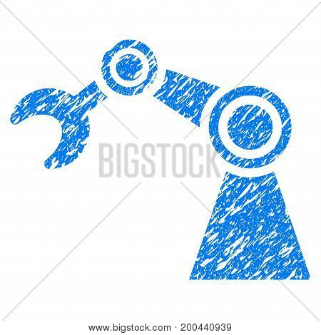 Grunge Manipulator icon with grunge design and dust texture. Unclean vector blue pictogram for rubber seal stamp imitations and watermarks. Draft emblem symbol.