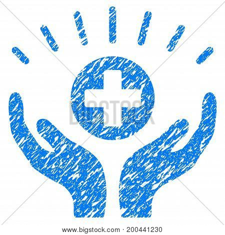 Grunge Medical Prosperity icon with grunge design and dust texture. Unclean vector blue pictogram for rubber seal stamp imitations and watermarks. Draft sticker symbol.