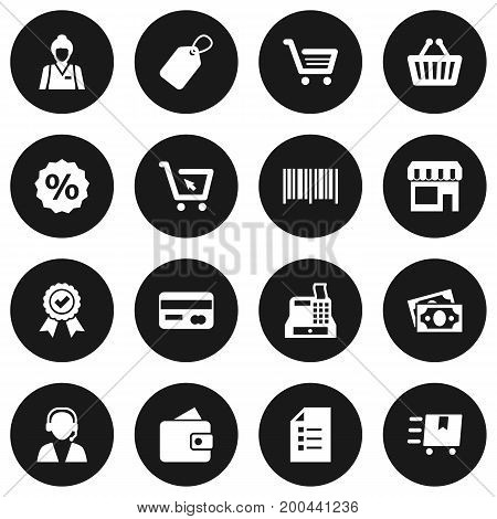 Collection Of Percent, Cargo, Label And Other Elements.  Set Of 16 Magazine Icons Set.
