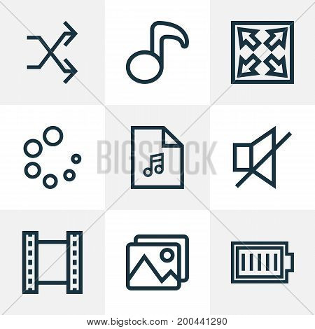 Music Outline Icons Set. Collection Of Playlist, Full Battery, Quaver And Other Elements