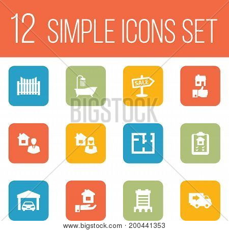 Collection Of Property, Real Estate Agent, Skyscraper And Other Elements.  Set Of 12 Property Icons Set.