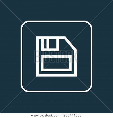 Premium Quality Isolated Diskette Element In Trendy Style.  Floppy Disk Outline Symbol.