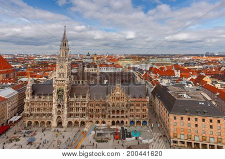 Aerial view of the new Town Hall Marienplatz in Munich. Germany. Bavaria.