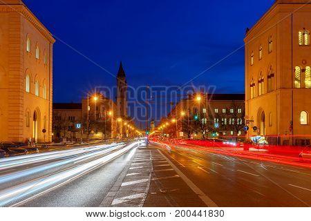 The main avenue Leopoldstrasse in the night illumination. Munich. Germany.