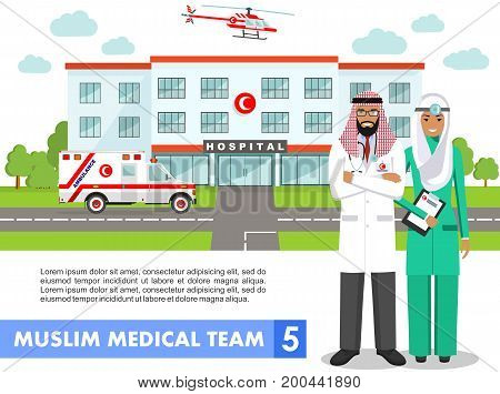 Detailed illustration of muslim arabic medical staff people, medical helicopter, ambulance car and hospital building in flat style on white background.