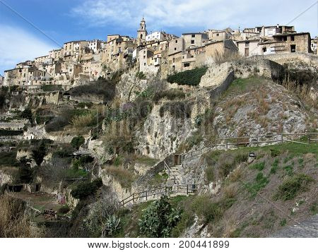 Biar town impressively situated on a rocky crag, Spain