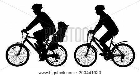 Silhouette of a family on mountain bikes vector illustration set