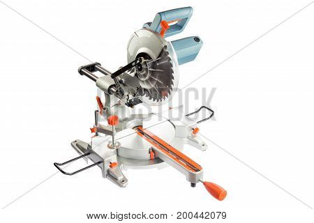 Circular saw whith blue handle isolated on a white background.
