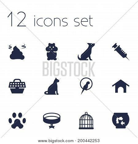 Collection Of Footprint, Birdcage, Home And Other Elements.  Set Of 12 Pets Icons Set.