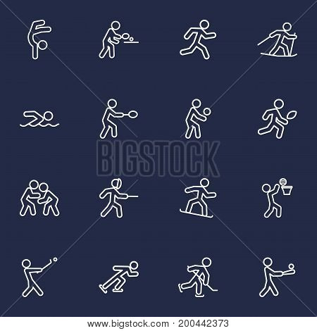 Collection Of Ice Skating, Run, Puck And Other Elements.  Set Of 16 Fitness Outline Icons Set.