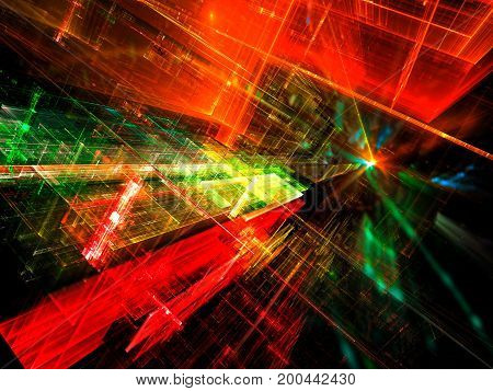 Sci fi or virtual reality background - abstract computer-generated image. Fractal art: bright colorful lines with perspective and light effects. For web design, covers, posters.