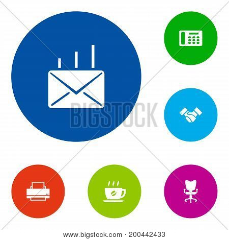 Collection Of Handshake, Telephone, Coffee Elements.  Set Of 6 Work Icons Set.