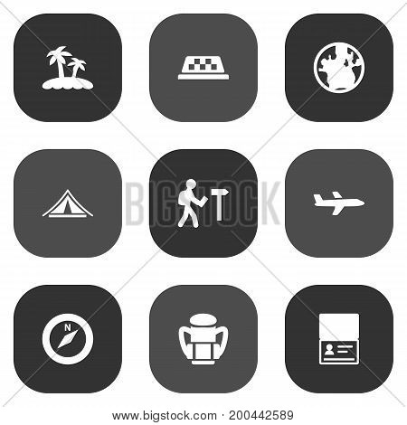 Collection Of Aircraft, Cab, Traveler And Other Elements.  Set Of 9 Relax Icons Set.