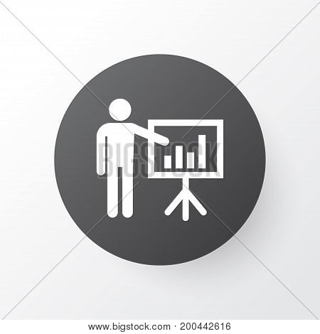 Premium Quality Isolated Presenting Man Element In Trendy Style.  Business Presentation Icon Symbol.