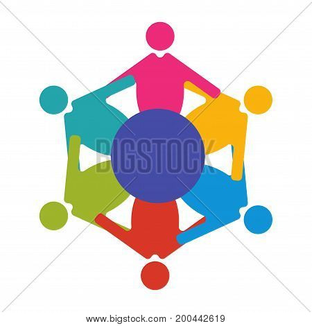 Reunion or Diversity group or community vector illustration. Round table and diverse people teamwork cooperation symbol. Great as cultural and racial diversity solidarity promotion.