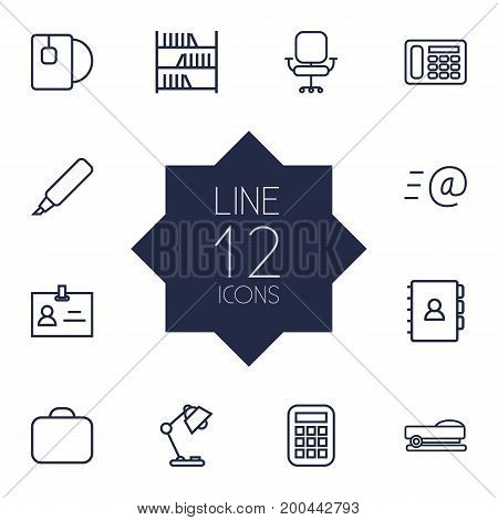 Collection Of Email, Bookshelf, Table Lamp And Other Elements.  Set Of 12 Workspace Outline Icons Set.