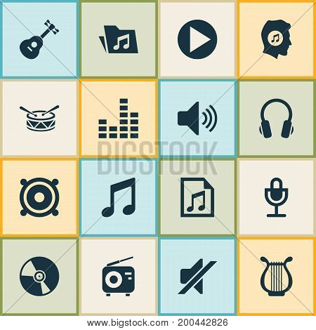Audio Icons Set. Collection Of Meloman, Sound, Tuner And Other Elements