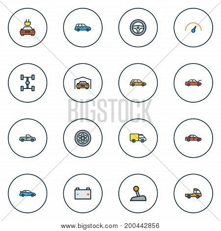 Automobile Colorful Outline Icons Set. Collection Of Car, Level, Truck And Other Elements
