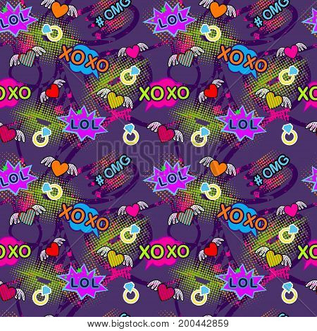 Abstract seamless pattern for girl and boy. Creative colorful pattern. Fashion pattern for clothes. Pattern with bubbles in pop art style. Childish pattern for boys and girls. Pattern with lips. Geometric pattern. Girlish pattern.Neon abstract pattern.